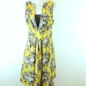 LEIFSDOTTIR ANTHRO FLORAL fit + flare LACE dress